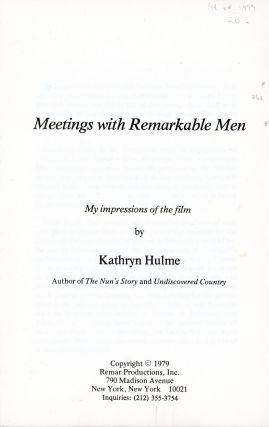 Meetings with Remarkable Men. Kathryn HULME
