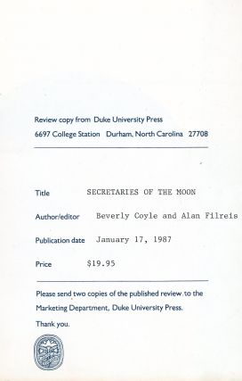 Secretaries of the Moon: The Letters of Wallace Stevens and José Rodríguez Feo